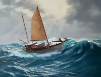 "Lifelike painting of ""The Sea""/Sailboat Stephen Mirish, originail oil, 18 x 24"