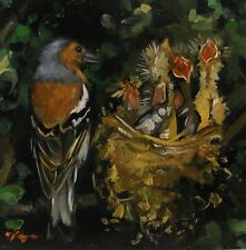 Original animal Oil painting wildlife bird art - chaffinch by UK artist j payne