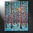 Original mosaic artwork painting porcelain sunny winter day pine trees GeeBeeArt