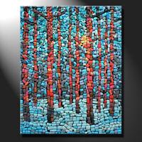 Original mosaic artwork painting porcelain sunny winter pine trees art GeeBeeArt