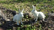 2 Distressed White Painted Cast Iron Bunny Rabbit Shabby Garden Easter