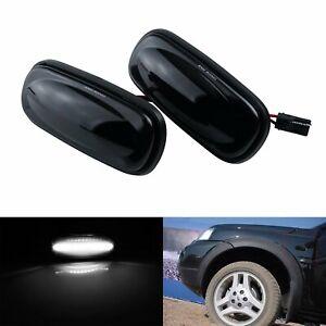 Blanc LED Repetiteur Clignotant Noir Pour Land Rover Discovery 2 Freelander L314