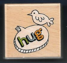 HUG BIRD Picture Photo Tag HAMPTON ART Thought Bubble NEW Craft RUBBER STAMP