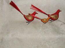 Vintage 1950s 3 BIRD Clip On XMAS Christmas Ornaments Gilt Made in Japan