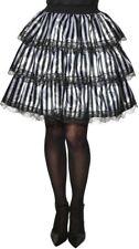 White Black Striped Ruffle Skirt Steampunk Pirate Womens Adult Halloween Costume