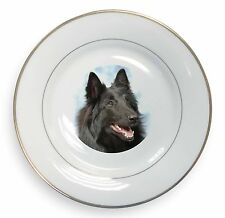 Black Belgian Shepherd Dog Gold Rim Plate in Gift Box Christmas Presen, AD-BS3PL