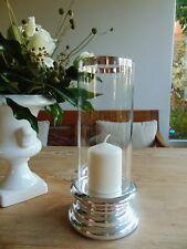 NEU edles WINDLICHT KERZENSTÄNDER Glaszylinder silberner Fuß LATERNE 26 x 9 cm