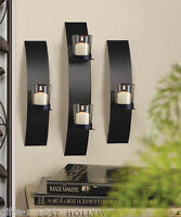 3 pc Black metal Modern Art Deco Artisanal hurricane Candle Holder Wall Sconce