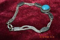 Vintage / Antique 800 Silver Turquoise Bracelet