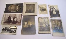 Lot Of 9 Vintage Photographs Cabinet Cards Old Cars Babies Free Shipping