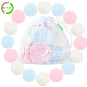 Bamboo Makeup Remover Pads 16 Pack With Laundry Bag - Reusable Soft Facial