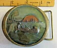 Enamel Brass Belt Buckle Indian w/Deer in Canoe on a Lake by Indiana Metal Craft