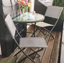 3er Set Balkonset mit Glastisch Klappstühlen und 2 klappbarer Stuhl grau