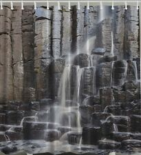Waterfall Rock Wall Fabric SHOWER CURTAIN Rocks Stone Nature Falls Bath Decor