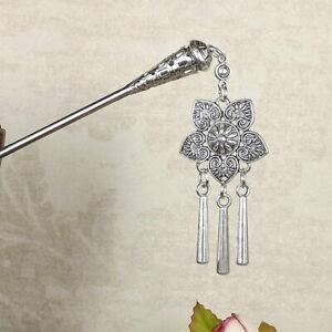 Bohemia Vintage Silver Tassel Carved Flower Hair Sticks Women Hairpins Jewelry