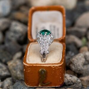 0.70 Carat Round Brilliant Cut Emerald Gemstone Women's 925 Sterling Silver Ring