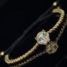 Fashion Men's 18kt Gold Plated Zircon Leopard Head  Gold Macrame Bracelet