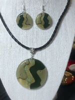 ROUND FUSED GLASS PENDANT - EXTENDABLE CORD - MATCHING EARRINGS