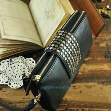 Women Lady Leather Rivet Handbag Party Evening Envelope Clutch Bag Wallet Purse