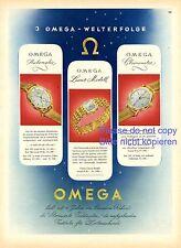 Omega Uhren XL Reklame 1944 Uhr Armbanduhr Werbung Chronometer Luxus Automatic
