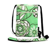 Fabric Travel Pouch, Passport Holder, Travel Accessory - Flowers on Light Green