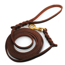 "Brown Genuine Leather Dog Leash Lead Personalized Training 9.8ft long 1/2"" wide"