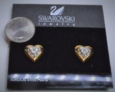 New Marked SWAN Goldtone Clear SWAROVSKI Crystal HEART Shape Pierced Earring