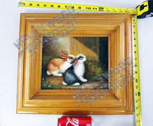 Bunny Rabbit pet painting country original oil small animal framed dutch signed