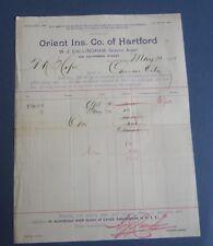 Old 1895 Orient Insurance Co. of Hartford Conn. - Billhead - San Francisco Ca.