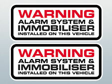 PAIR OF ALARM AND IMMOBILISER INSTALLED STICKERS / ALARM & IMMOBILISER FITTED