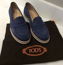 Tod's Blue Nubuck Loafers in SZ 38.5(IT)/8.5US