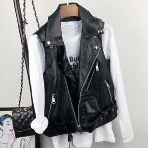 Faux Leather Women Black Waistcoat Gilet Biker Sleeveless Jacket Retro Vest Coat