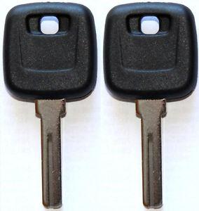 NEW FOR VOLVO S60 S80 XC90 V70 MASTER TRANSPONDER UNCUT CHIPPED KEY BLANK - PAIR