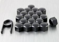 19mm MATTE BLACK ALLOY WHEEL NUT BOLT COVERS CAPS UNIVERSAL SET FOR ANY CAR