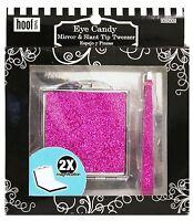 (New) Hoof Pink Glitter Mirror & Glitter Slant Tip Tweezer - Fits Great In Purse