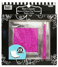 (New) Hoof Pink Glitter Mirror & Glitter Slant Tip Tweezer - Fits Great In Purse