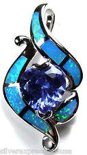 1.71ct Corazón Tanzanita & Azul Ópalo De Fuego Plata ley 925 Collar con colgante
