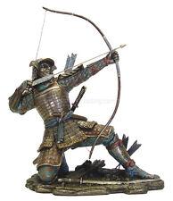 "Samurai Archer Kneeling While Taking Aim 10.5"" High Statue Bronze Finish"