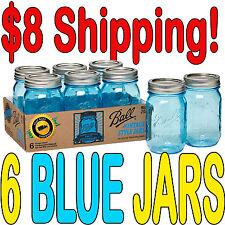6 X Ball Mason Heritage Blue Pint Jars and Lids Limited Edition BPA