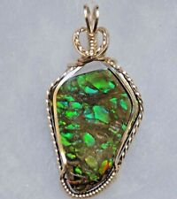 Green ~  CANADIAN AMMOLITE PENDANT ~ Hand Crafted ~ 14kt GF