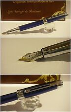 Stilografica Regal British Blue Electric fountain pen  Stylo Nib twotone siz Mf