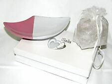 Piattino Porcellana bianco-fuxia piatto bomboniera regalo cm.17x11 art IL186
