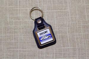 Ford Escort Mk1 2-Door Keyring - Leatherette & Chrome Keytag