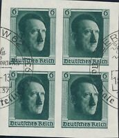 Lot Stamp Germany Sc B103 Block 1937 3rd Reich Adolf Hitler Birthday Imperf Used
