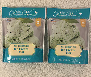 Lot Of 2 Pioneer Woman Mint Chocolate Chip Ice Cream Mix Package Makes 2 Quarts
