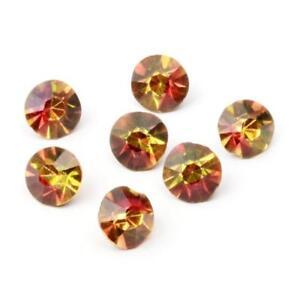 Lot (7) 9mm Czech Deco vintage mirrored amber bicolor glass rhinestones