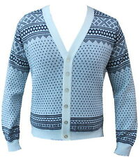 Mens cardigan Christmas Fairisle Snowflake Snow Sweater Jumper Button up