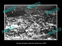 OLD POSTCARD SIZE PHOTO OF DECATUR GEORGIA AERIAL VIEW OF THE TOWN c1940