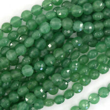 """6mm natural faceted green aventurine coin beads 15"""" Strand"""