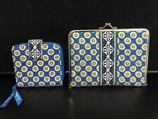 Vera Bradley Riviera Blue Mini Zip Wallet Zipper ID & Photo Clitch Quilted NWOT